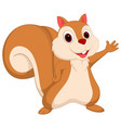 happy squirrel cartoon presenting vector image