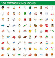 100 coworking icons set cartoon style vector image