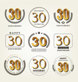 30 years anniversary logo set vector image