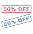 50 percent off textile stamps vector image