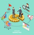 affiliate marketing flat isometric concept vector image vector image