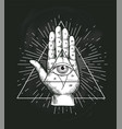 all seeing eye triangle geometric design vector image