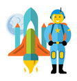 astronaut and space shuttle flat style vector image