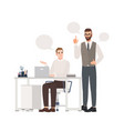 boss instructing subordinate at workplace male vector image vector image