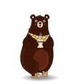 Cartoon bear in slippers and necktie holding cup