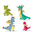 cartoon dragons of funny fairy vector image