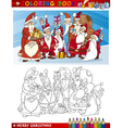 Cartoon Santa Claus Group for Coloring vector image