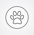 cat footprint outline symbol dark on white vector image