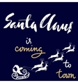 Christmas gold and white lettering design Santa vector image vector image