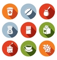Coffee flat icon set vector image