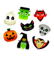 collection of cartoons of various halloween vector image vector image