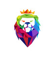 colorful lion head logo vector image vector image