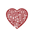 concept of heart labyrinth vector image vector image