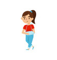 cute girl with broken arm in bandages little vector image