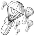 doodle bombs parachute vector image vector image