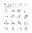 driving safety pixel perfect linear icons set vector image
