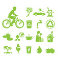 ecology saving and anti pollution green symbols vector image vector image