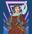 female retro pilot professional military pilot vector image vector image
