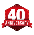 forty year anniversary badge with red ribbon vector image