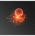 Glittering red sparkles with lens flare effect vector image vector image
