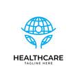 globe with human logo design templatesafe earth vector image vector image