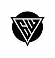 gw logo with negative space triangle and circle vector image vector image