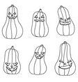 halloween black and white pumpkins with different vector image vector image