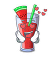 in love watermelon juice with watermelon fruit vector image vector image