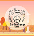 international peace day poster hippie sign autumn vector image vector image