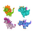 little cute cartoon dragons set colorful fantasy vector image vector image