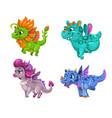 little cute cartoon dragons set colotful fantasy vector image vector image
