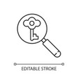 looking for key linear icon vector image vector image