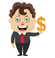 man with dollar sign on white background vector image vector image
