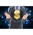 Man with icons symbol of dollar gold vector image vector image