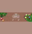 merry christmas message on horizontal wooden vector image vector image