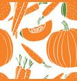 orange fresh pumpkin and carrot seamless pattern vector image vector image