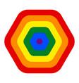 rainbow pride flag lgbt movement in hexagon shape vector image vector image