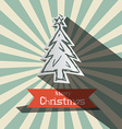 Retro Christmas Card with Paper Tree vector image