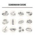 scandinavian cuisine menu doodle icons vector image