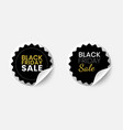 set realistic black friday sale stickers vector image