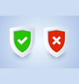 shield icon with tick and cross symbols in 3d vector image