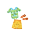 Shirt Swimshorts And Flip-Flops Hawaiian Vacation vector image vector image