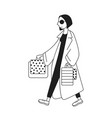 shopping girl character vector image vector image