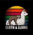 sloth and llama retro vector image
