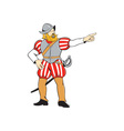 Spanish Conquistador Pointing Isolated Cartoon vector image vector image