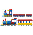 trains with two types of wagons vector image vector image