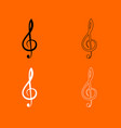 treble clef black and white set icon vector image
