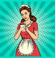 waitress woman pop art vector image