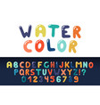 watercolor english creative alphabet vibrant vector image