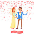 wedding of groom and bride married day vector image vector image
